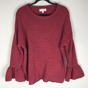 Knox Rose bell sleeve sweater pullover wine red